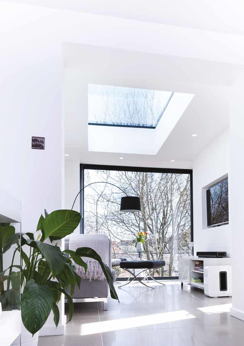 flat rooflight in modern living room